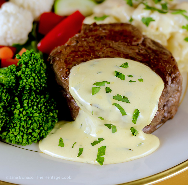close up of steak with sauce and broccoli; Holiday Foolproof Béarnaise Sauce (Gluten Free) © 2018 Jane Bonacci, The Heritage Cook