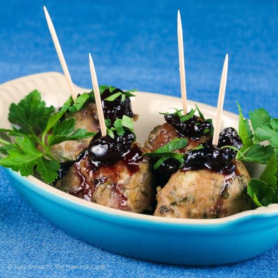 Cherry Red Wine Baked Turkey Meatballs (Gluten Free)