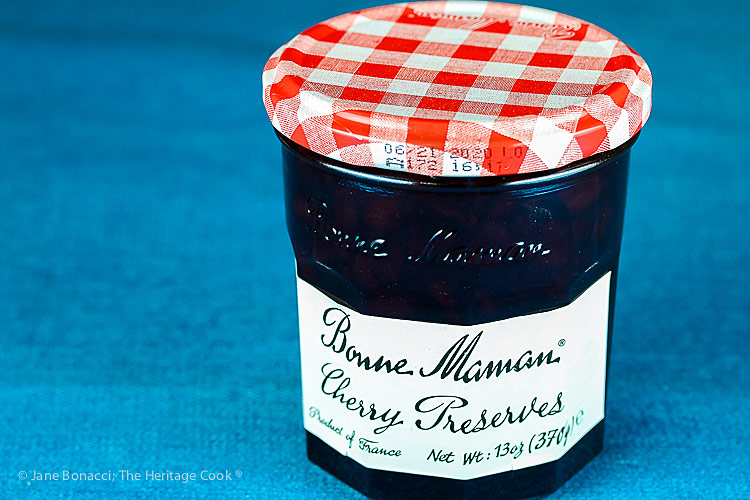 Jar of cherry preserves; Cherry Red Wine Baked Turkey Meatballs © 2019 Jane Bonacci, The Heritage Cook