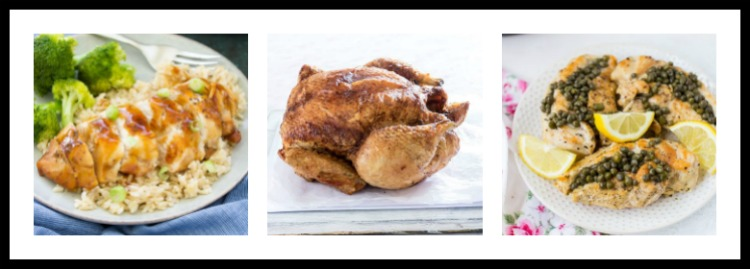 3 photos of recipes; 15 Great Chicken Recipes collection, compiled by Jane Bonacci, The Heritage Cook