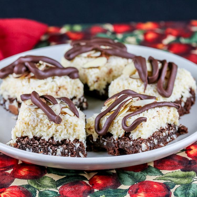 Rich Coconut Almond Brownies © 2019 Jane Bonacci, The Heritage Cook