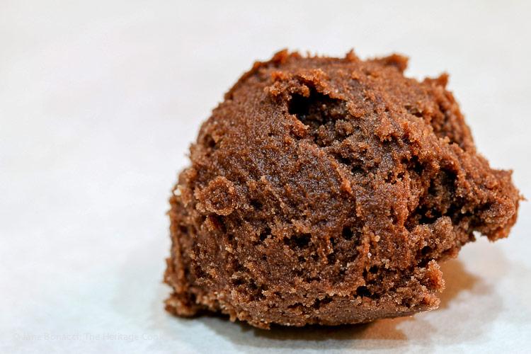 scoop of dough; Secret Ingredient Crispy Chocolate Cookies © 2019 Jane Bonacci, The Heritage Cook