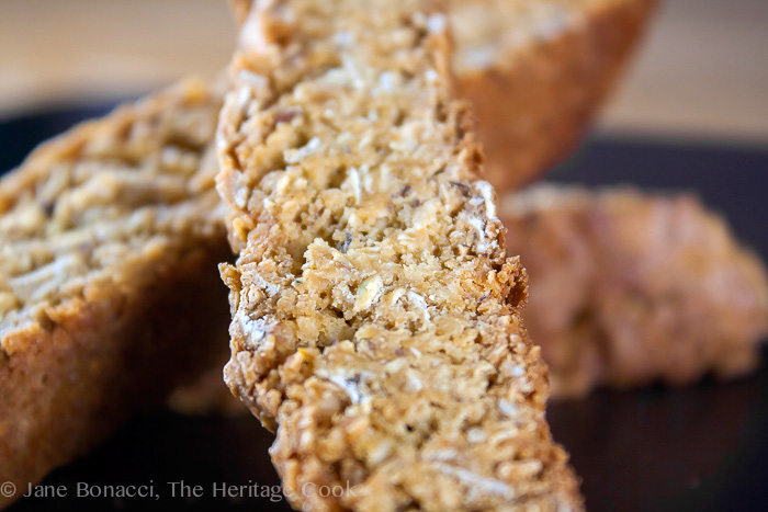 close up of cookies; Oatmeal Coconut Biscotti (Gluten Free) © 2019 Jane Bonacci, The Heritage Cook