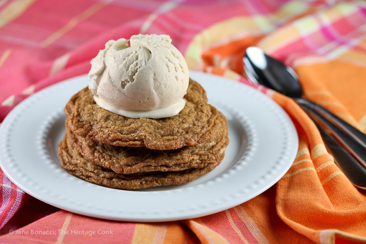stack of cookies with ice cream on top; Chocolate Chip Cookie Sundaes (Gluten Free) © 2019 Jane Bonacci, The Heritage Cook