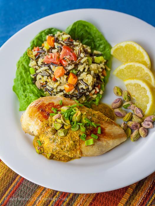 Chicken with Harissa Yogurt Sauce and Pistachios © 2019 Jane Bonacci, The Heritage Cook