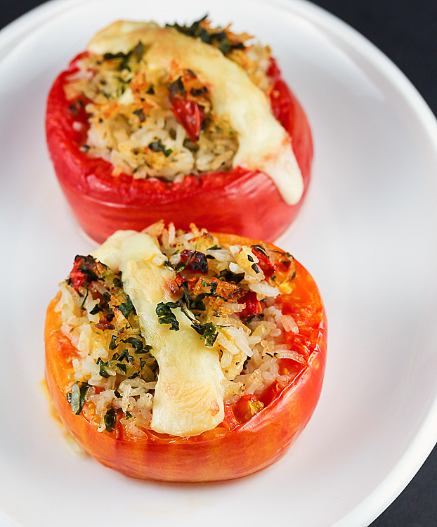 Roasted Rice-Stuffed Tomatoes © 2019 Jane Bonacci, The Heritage Cook