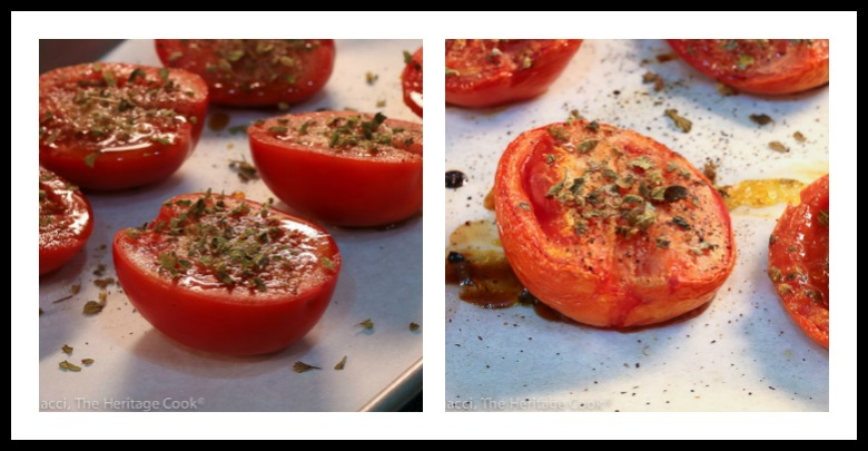 Roasted tomatoes, before and after cooking