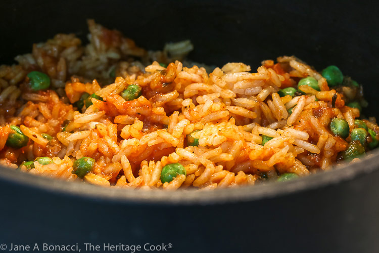 Rice in the cooking saucepan
