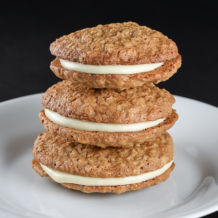 Gluten Free White Chocolate Oatmeal Sandwich Cookies