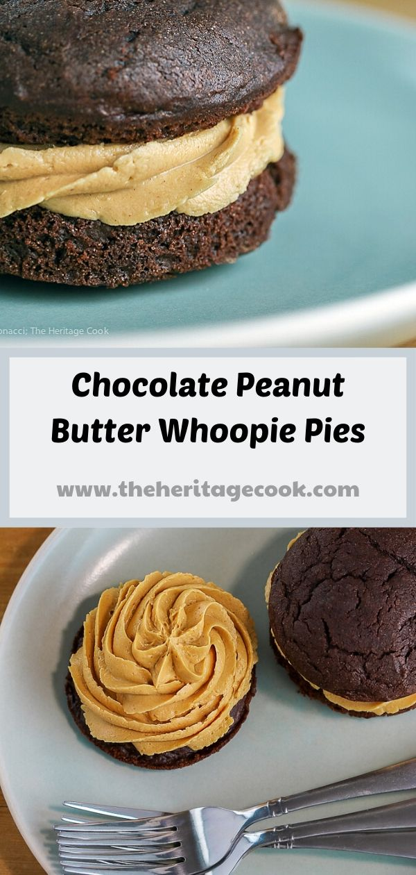 Chocolate Whoopie Pies with Creamy Peanut Butter Filling (Gluten-Free) © 2019 Jane Bonacci, The Heritage Cook