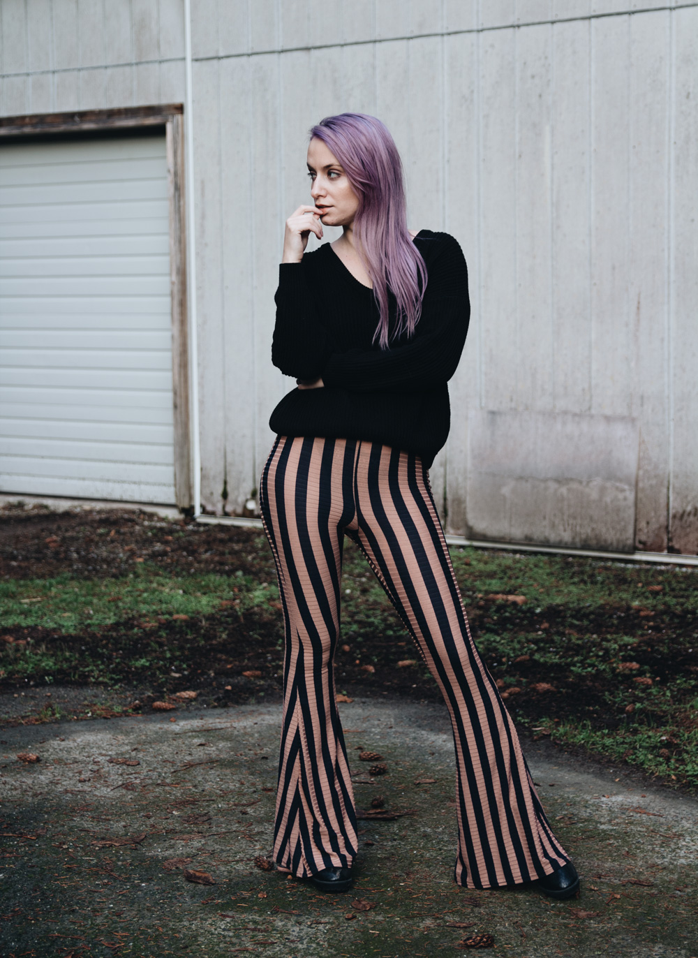 super cute sneakers low cost Outfit: Black Sweater & Black Striped Flare Pants – The ...