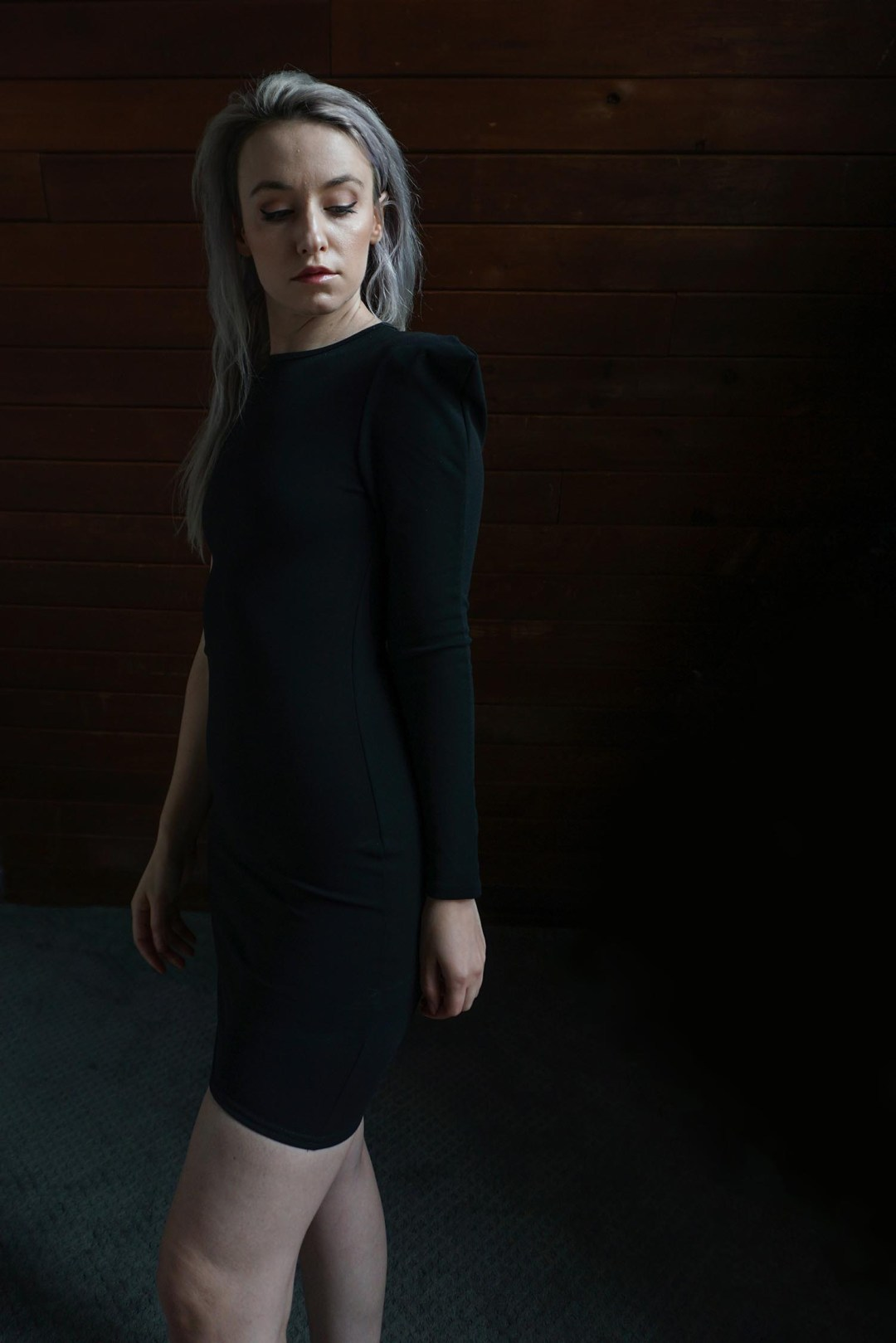 Black One Shoulder Padded Bodycon Mini Dress