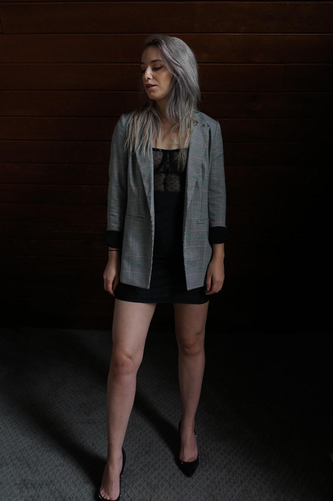 Black Polka Dot Mesh Top Mini Dress