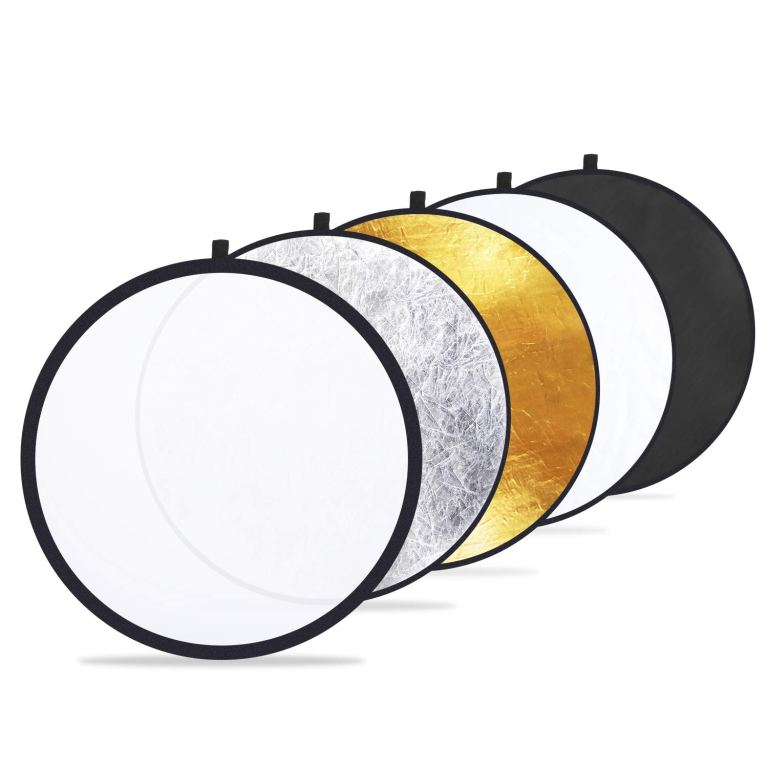 Etekcity 24″ (60cm) 5-in-1 Portable Collapsible Multi-Disc Photography Light Photo Reflector for Studio/Outdoor Lighting with Bag – Translucent, Silver, Gold, White and Black
