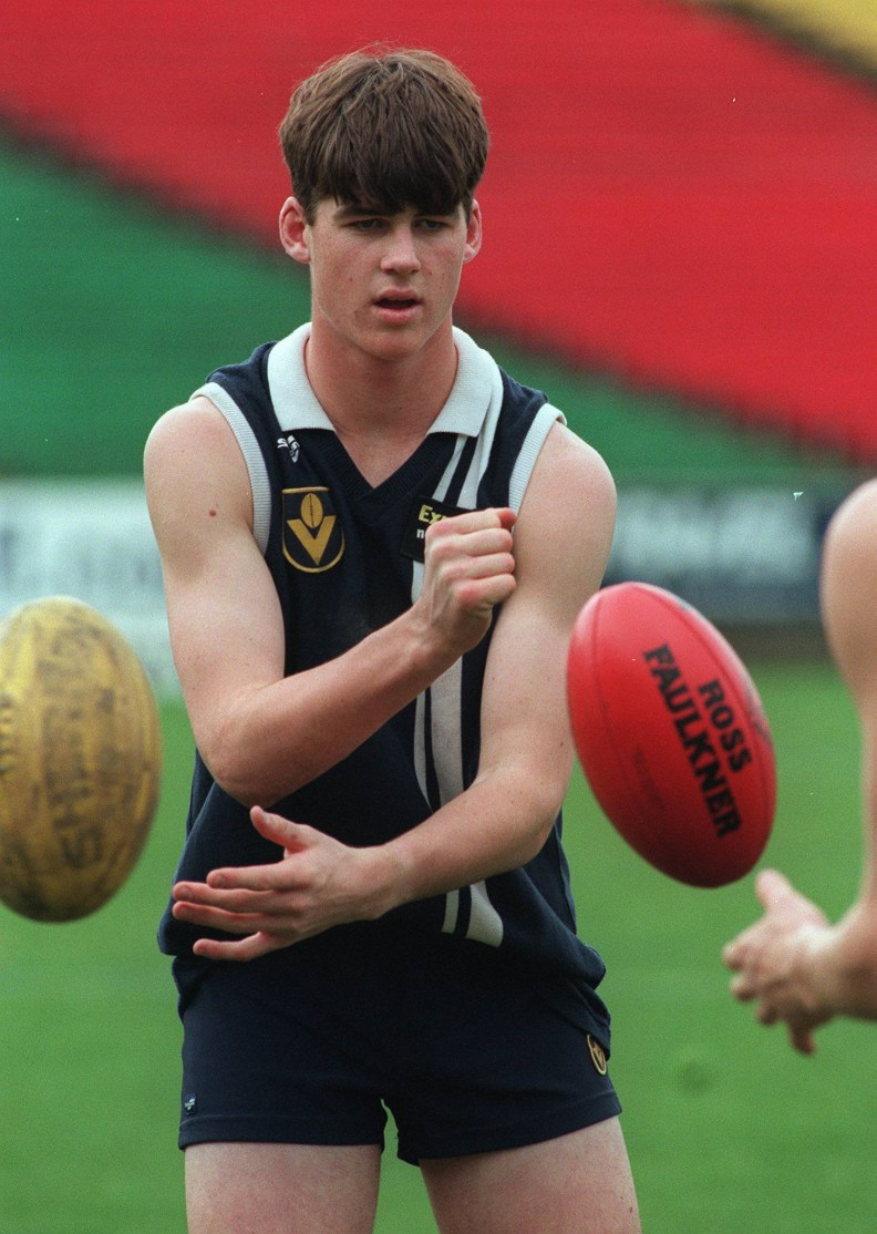 02/10/1998. Geelong Falcon's Jonathan Brown. Under 18's Training Training Camp at AFL Park.