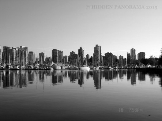Vancouver skyline view at Coal Harbor from Stanley Park