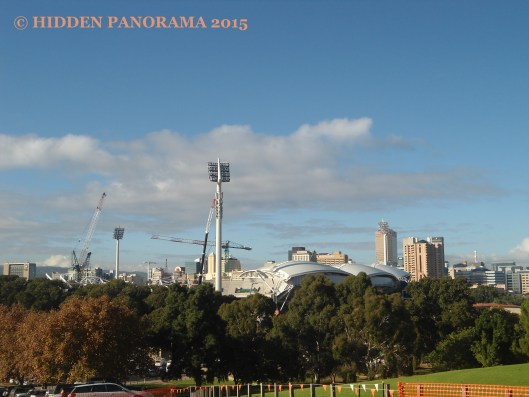 View in Colonel Lights Lookout at Montefiore Hill, Adelaide Oval under constructions