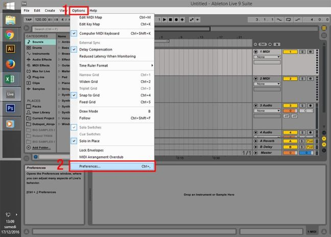 How to install VST into Ableton : Option > Preferences