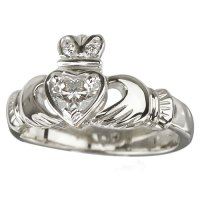 Diamond Claddagh 18kt White Gold Engagement Ring  The ...