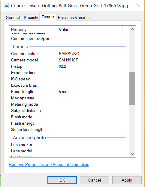 how to see exif data