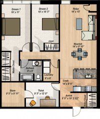 2 Bedroom + Den Condo Layout - The Hillcrest Condos