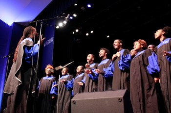 "The Howard University Gospel choir performed before the 2016 AT&T Nation's Classic ""Game Before The Game"" #TheRealHUDebate at Cramton Auditorium, Friday, Sept. 16. (Photo Credit: Paul Holston, Editor-in-Chief/The Hilltop)"