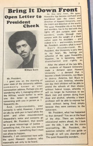 From The Hilltop Archives: William Scott, Managing Editor of The Hilltop from 1975-1976, writes an open letter to then President James E. Cheeks on the morning of Howard University's 109th Convocation. (Dated: September 29, 1975)