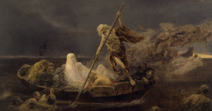 social media crop of Charon Ferrying Souls, painted by José Benlliure y Gil (1855–1937), [Public Domain] via Creative Commons