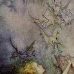Social media crop of Pandora and bats painted by Arthur Rackham (1867–1939), [Public Domain] via Creative Commons