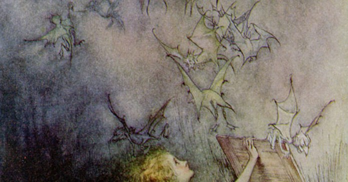 Social media crop of Pandora and bats painted by Arthur Rackham  (1867–1939), [Public Domain] via Creative Commons.jpg