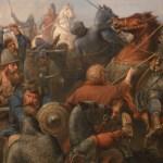 social media crop scene of Battle of Stamford Bridge painted by Peter Nicolai Arbo (1831–1892), [Public Domain] via Creative Commons