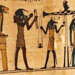 Papyrus Book of the Dead Scroll with Ammut, Thoth, Anubis and Horace, housed in the Neues Museum of Berlin, photographed by Gary Todd, [Public Domain] via Creative Commons and WorldHistoryPics