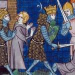cropped Illustration of King Clovis from the Chroniques de France ou de St Denis, manuscript labeled BL Royal 16 G VI f 12v by The British Library, [Public Domain] via Creative Commons