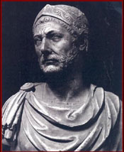 A bust of Hannibal found in Capua and preserved in the National Museum of Naples, Italy.