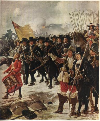 Painting depicting students defending Copenhagen.