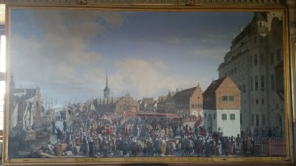 Painting of Frederick III leaving the stage in front of the Stock Exchange, where he was hailed as absolute monarch.