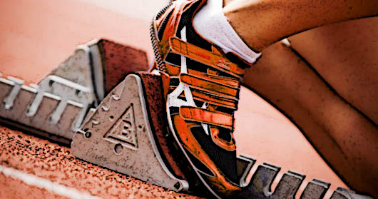 Close up of foot on starting blocks