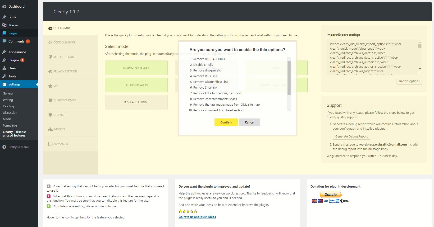 Clearfy WordPress Optimization Plugin