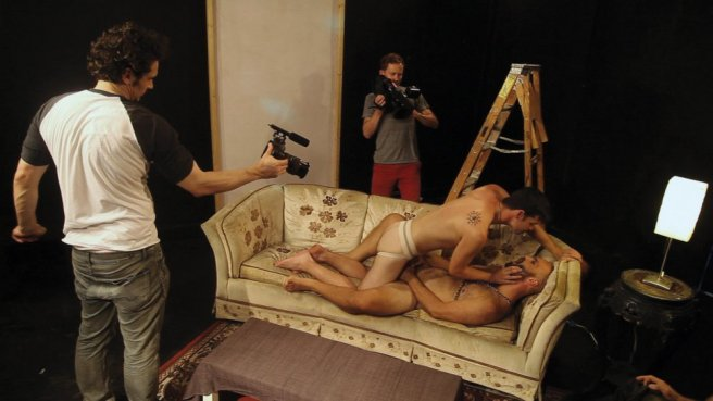 James Franco and Travis Mathews film a sex scene for Interior. Leather Bar.