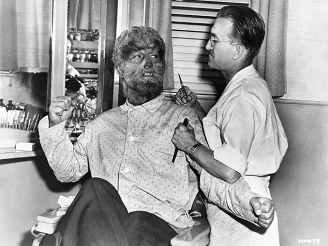 Lon Chaney, Jr. and Jack Pierce prepare to work out some creative differences.