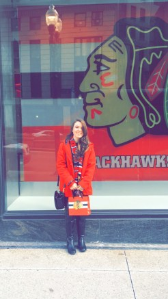 Blackhawks bag in hand after a successful shopping trip