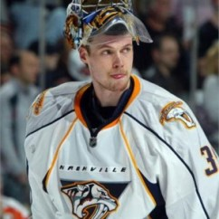 Pekka Rinne is the present between the Preds' pipes...