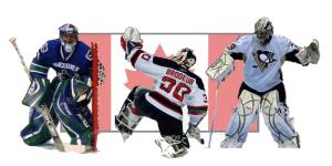 Team Canada goalies: Luongo, Brodeur, and Fleury