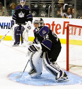 Bernier is no longer just watching Quick take over in net this year. (Photo by Heather Abrahamson).