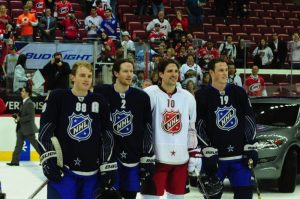 Chicago Blackhawks All-Stars (left to right) Patrick Kane, Duncan Keith, Patrick Sharp, and Jonathan Toews, pose after the 2011 ASG. (Tom Turk/THW)