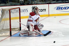 Ilya Bryzgalov as a member of the Coyotes. Photo by Wes Cunningham).