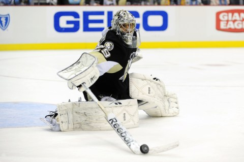 The goalie stick being used by Marc-Andre Fleury