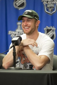 Jeff Carter at press conference