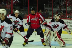 Ovechkin, seen here, was a factor in creating the little offense Washington had in New Jersey (Tom Turk/THW).