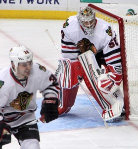 Corey Crawford in goal 11/25/11 at LA Kings